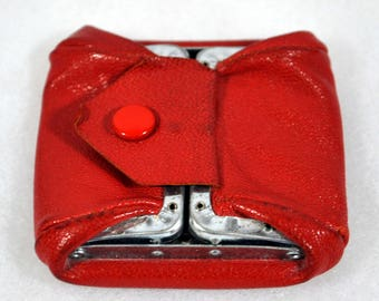 Vintage Red Leather Folding Coin Purse with Snap