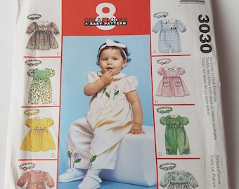 McCall's 3030 Sewing Pattern Infants' Rompers or Dress and Headband in sizes small, medium, large, x-large