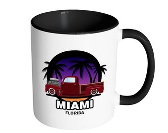 Miami Florida Hot-Rod Truck Ceramic Mug For Coffee And Tea 11oz, Made In The USA