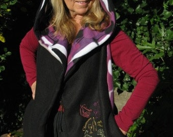 Oenophile Wine Themed - Hooded Scarf with pockets