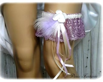 Purple and ivory wedding garter