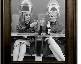 Hairdresser Art Print 8 x 10 - Retro Kitsch 1950's Women at Hair Salon Driking Wine - Beautician - Stylist