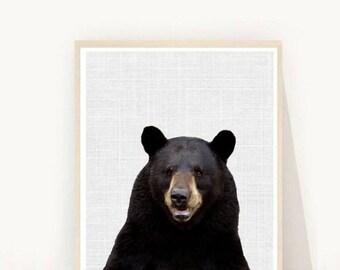 Bear Print, Printable Art, Bear Art, Black Bear Print, Home Decor,  Wall Art, Scandinavian Art,  Nursery Art,  Instant Download