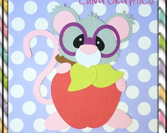SCHOOL MOUSE APPLE Paper Piecing card making and scrapbooking
