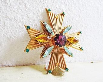 Rhinestone Brooch, Rhinestones and Brass, Maltese Cross, Crystal and Brass, Blue Green, Purple, Citrine, Cross Brooch , One of a Kind