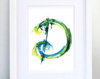 Print, Art Print, Wall Decor, Wall Art, Illustration Print, Green Ink Drawing, Letter D, print 8x11.5 inch (21x29.5 cm)