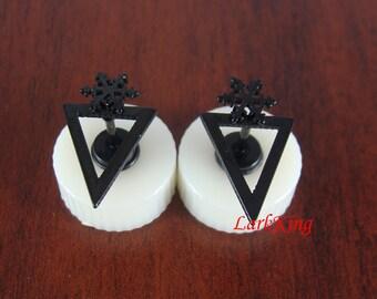 Stud earrings, black snowflake earrings, black triangle stud earrings, snowflake stud earrings, black studs, black earrings, ER498
