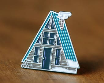 Winter A-Frame Cabin Enamel Lapel Pin Badge // Vintage Camping Camp Adventure Explore Winter Snow Forest Wanderlust Gift