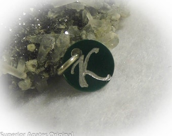 Letter K Hand Engraved Green Personalized Small  Charm 1/2 inch