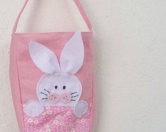 Pink cotton fabric Easter Bunny bag