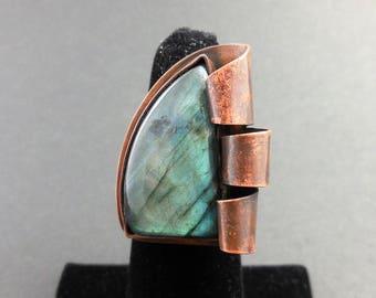 Labradorite ring-copper metalwork ring