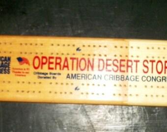 Vintage NOS Operation Desert Storm or Shield Wood Cribbage Board