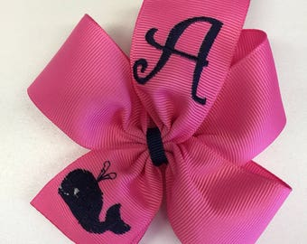 Monogram Initial, Embroidered Whale, Hair Bow, Summer Hairbows, Girls Bows, Kids Trendy, Preppy Medium, Toddler Baby, Hot pink, Beach Vines