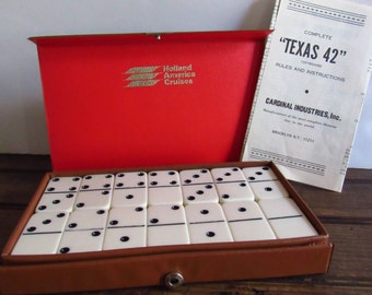 Vintage Dominoes, Bakelite Plastic Dominoes, 28 Domino Pieces, Vintage Game, Game Tiles, Vinyl Travel Case, Holland America Cruises Souvenir