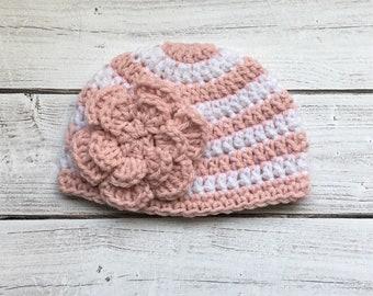 baby beanie/ hat with flower/ newborn beanie/ baby girl / baby accessories/ striped hat