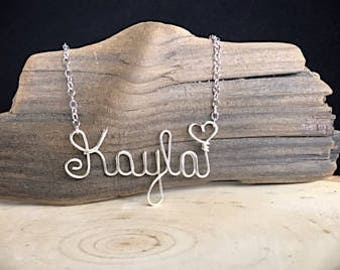 Name Necklace, Custom wire wrap Name,  Wire Word Necklace- personalized. Type name choice in note to seller box at checkout