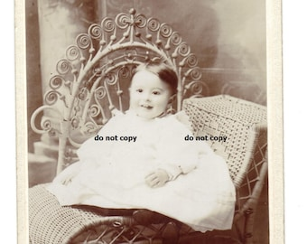 baby in white gown, ornate chair, cabinet card photo, antique photograph, vintage photography