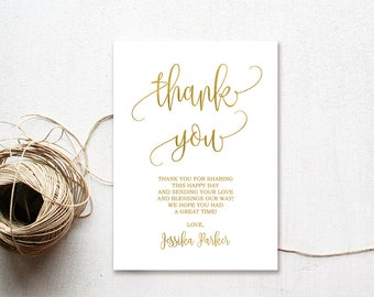 Baby Shower Thank You Cards, Thank You Notes, Thank You Card, Gold, #BS01