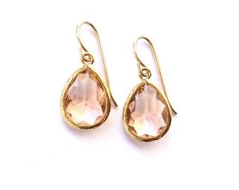 Blush Earrings, Bridesmaids Peach Earrings, Bridesmaids Blush Earrings