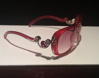 Red Sunglasses with Swarovski