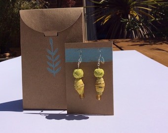 Earrings featuring paper beads made from Collagraph print