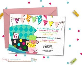 mad hatter Birthday Invitation, Birthday Invitation, Bright Birthday Invitation, Tea Party Birthday Invitation, Tea Party, Hats
