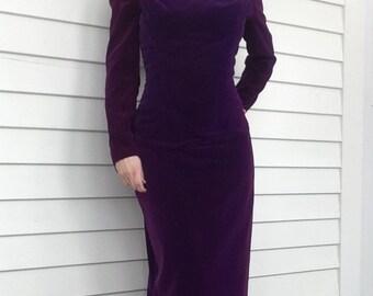 Purple Velvet Gown Formal 80s Romantic Long Dress XS