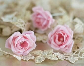 71 Flower pins, Pink rose pins, Wedding hair pins, Bridal hair pins, Wedding barrettes, Hair flower, Wedding hair accessories, Hair clips.