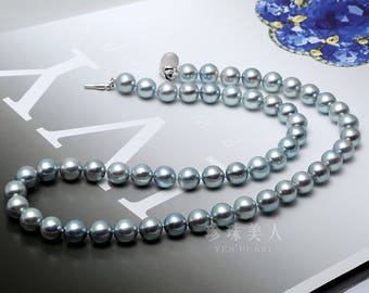 6.5-7.5- Grayish Akoya Pearl Necklace with 925 silver clasp