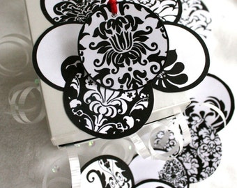24 Printable Black and White Damask Gift Tags Print As Many As You Like