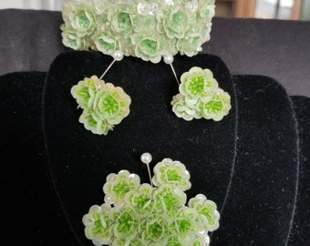 Jewelry Set- early 1950's hand made sequin and seed bead bracelet, earrings, and brooch.