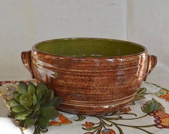 Pottery baking dish, baking dish, bakeware, baking pottery, bread baking dish, brown pottery, green pottery, pottery dish, casserole dish
