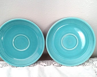 "Fiesta Turquoise 6"" Saucer Dishes, Fiesta Plates - Marked Genuine Fiesta HLO USA, Vintage, Qty. 2"