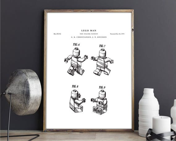Lego man patent print art Vintage printable patent poster