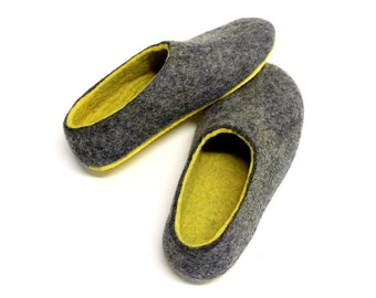 Gray and Yellow Felt Slippers - Wool Slippers - Minimalist Shoes - Felt Slippers - Rubber Soles - Gift for Her - Natural Shoes - Woolen Clog