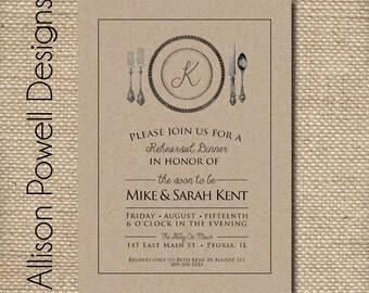 Custom Digital Rehearsal Dinner/Dinner Party Invitation, Engagement, Shower- Rustic Fall Colors, Kraft Paper,  - Printable