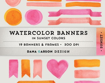 Watercolor Digital Banners, Frames & Flags for invites, crafts, printing, blog graphics, scrapbooking, clip art ClipArt, commercial use