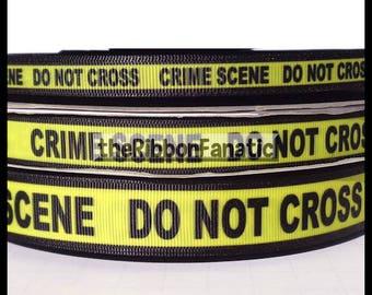 "5 yds 3/8""  5/8""  or 7/8"" Yellow and Black Crime Scene Tape Grosgrain Ribbon"