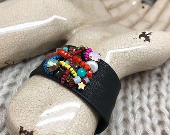 Bohemian black leather beaded bracelet