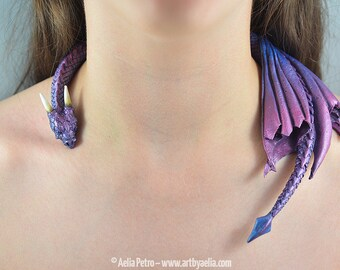 Purple Aurora Borealis Dragon Draper Necklace - IN STOCK and Ready to Ship