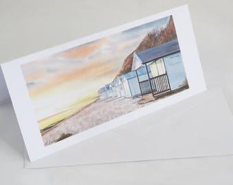Beach Huts at Sunset Greetings Card