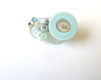 Pin with Beach Glass Button Brooch FREE US Shipping