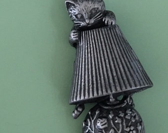 Vintage signed A.J.C  figural Cat on lamp brooch