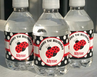 Personalized Ladybug Water Labels Printable - Little Red Lady Collection