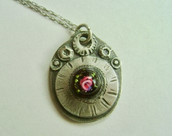 new artisan pendant necklace with vintage glass cabochon