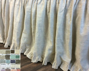 natural linen bedskirt with ruffle hem, bed ruffles, linen dust ruffles, bed skirts, over 41 colors and patterns, 15-24 drop or Custom Size
