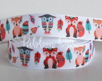 """7/8"""" Tribal Foxes and Owls Grosgrain Ribbon Fox Owl Tribal Woodland Creatures Animals Feathers"""