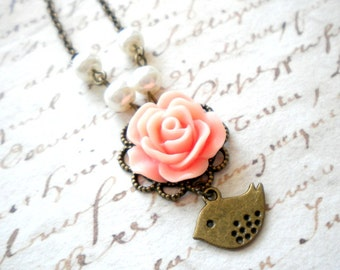 Flower Girl Necklace Peach Wedding Jewelry Pearl Necklace For Girls Children Necklace Bird Pendant Rose Necklace Little Girl Necklace