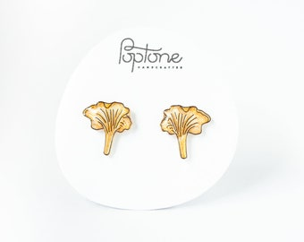 Chanterelle Mushroom Earrings, golden chanterelle mushrooms, woodland jewelry, botanical earrings, mushroom stud earrings