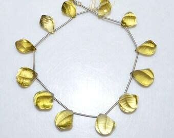 """Natural Lemon Quartz Faceted Twisted Drops Beads - Natural Lemon Quartz Briolette , 10x13 - 11x16 mm , 8"""" , BL1890"""